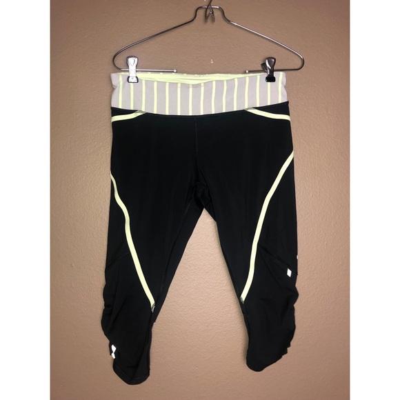 lululemon athletica Pants - LULULEMON | Ruched Black Green Crop Legging Pants